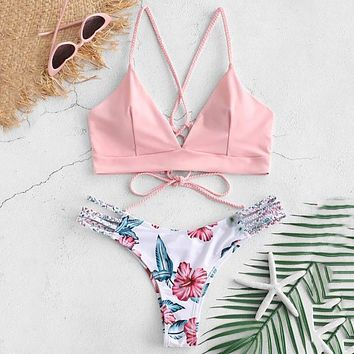 Bikini Cut Flower Print Off Shoulder Swimsuit