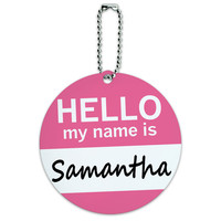 Samantha Hello My Name Is Round ID Card Luggage Tag