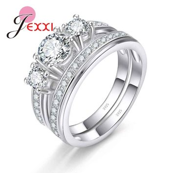 JEXXI Luxury Crystals Filled Genuine 925 Sterling Silver Couple Wedding Promise Rings Sets For Women Bridal Wedding Rings