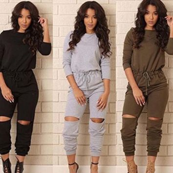 Women's One-shoulder Casual Wear Ripped Sport Jumpsuits
