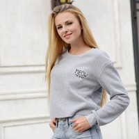 Letter Print Thickened Long Sleeve Sweater Women Casual Short Section Tops