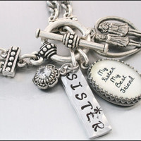 Silver Inspirational Jewelry, Jewelry for Sister, Silver Charm Bracelet, My Sister My Best Friend