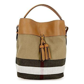 Burberry Asby Beige Canvas Check Hobo Handbag