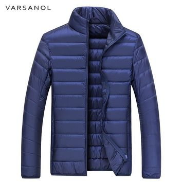 Varsanol Men's White Duck Down Jacket Lightweight Parkas Thin Winter Warm Coat Long Sleeve Jackets Zipper High Quality Outwear