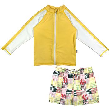 "Baby Boy Long Sleeve Rash Guard Swimsuit Board Shorts Set UPF 50+ | ""Madras Mania"""