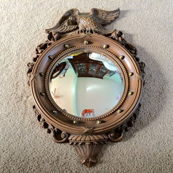 vintage 1950s Syroco resin eagle federal port hole mirror