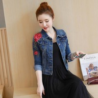 Flower Embroidery Denim Jacket Women Coat 2018 Autumn Basic Jackets Hole Flower Jean Jacket Vintage Outerwear