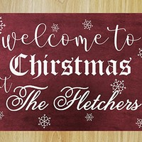 CHRISTMAS FAST SHIPPING- Large Christmas Welcome Sign Personalized Vintage Wooden Decal Sign #M02