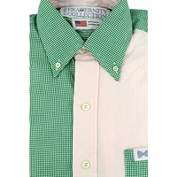 The Norfolk Sports Shirt in Two Tone Light Pink and Green Gingham by the Fraternity Collection