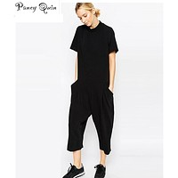 plus size black rompers womens jumpsuit seven big jumpsuit side pocket loose-fitting body jumpsuits romper overalls for women
