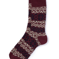 Burgundy Fairisle Boot Socks - Men's Socks - Clothing