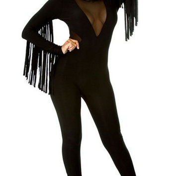 Black Long Sleeve Fringe Deep V Neck Mesh Romper