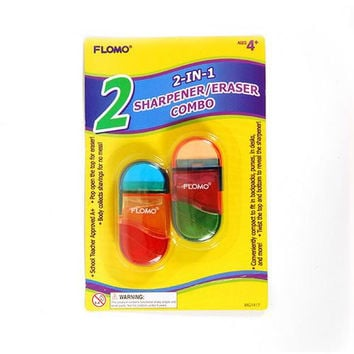 2 pack Two-In-One Translucent Sharpener and Eraser Combo