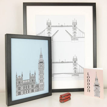 London wall art, Tower Bridge Print, London Print, Minimalist art, London drawing, art print, Picture of Tower Bridge, England, Illustration