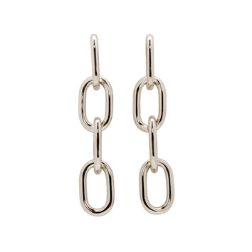 Silver Four Link Chain Earrings