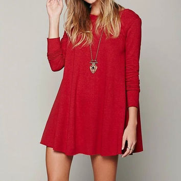 V-Neckline Long Sleeve Loose Flare Mini Dress