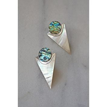 Vintage Galactic  Abalone Sterling Silver Earrings