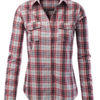 Womens Lightweight Button Down Plaid Flannel Shirt With Two Front Pockets