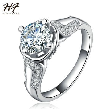 18K White Gold Plated AAA CZ Diamond Lotus Flower-shaped Bijoux Fashion Wedding & Engagement Ring Jewelry For Women As Gift R668