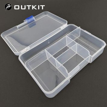 OUTKIT High Strength 14.3*9.9*3.3cm with 5 Compartments Transparent Visible Plastic Fishing Lure Box Fishing Tackle box