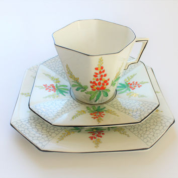 Art Deco Octagonal Trio Set Cup, Saucer, Plate made by Windsor China for Great Western Railways. Rare piece. Vintage china.