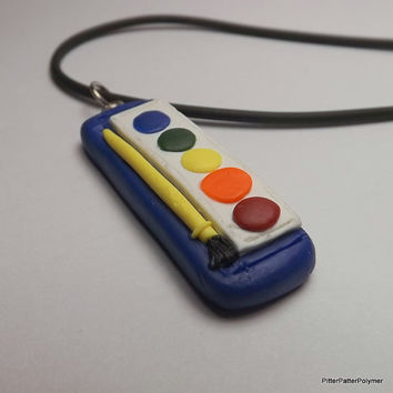 Kawaii Polymer Clay Necklace Paint Charm Watercolor Paintbrush Set