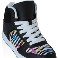 high top zebra print sneaker with paint splatter - debshops.com