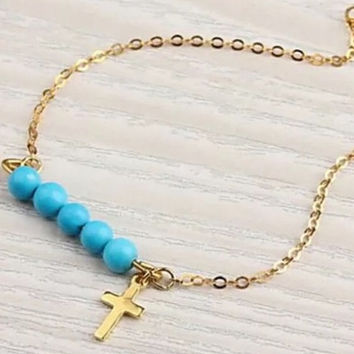 Gold beaded cross bracelet / gold adjustable bracelet / religious jewelry / religious bracelet / turquoise beaded bracelet / boho bracelet