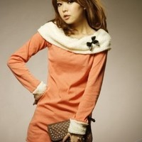Wholesale New Arrival Sweet Lambswool Collar Long Sleeve T-Shirt Orange