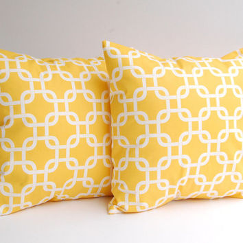 Yellow pillow covers set of two 20 x 20 decorative throw pillow covers in Yellow Gotcha