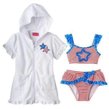 Penny M Stars & Stripes 3-pc. Bikini Swimsuit Set - Baby Girl, Size: