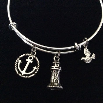 Lighthouse Silver Anchor and seagull Charm on an Expandable Adjustable Silver Wire Bangle Bracelet Ocean Jewelry Gift Nautical Trendy Stacking