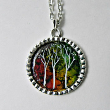 "TREE Pendant HAND PAINTED Necklace Abstract Art Antique Silver Plated 25 mm with 24"" Rolo Chain Necklace"