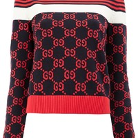 Ladies Pattern Gold Collar Christmas Sweater by Gucci