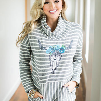 Striped Skull Long Sleeve Top Gray/Ivory