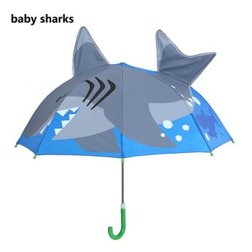 Deep-sea Shark Cartoon Patterns Umbrellas Kids Boys Girls Umbrellla For Children Paraguas Parasol Fashion Umbrellas-01