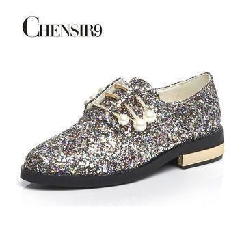chensir9 genuine leather glitter women shoes flats loafers slip on shoes woman pearl s  number 1