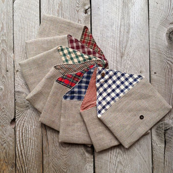 Set of 8  Plaid Linen Burlap Envelope Clutch  by JuneberryStitches