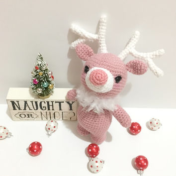 Jingle Bells Reindeer Amigurumi Crochet Pink Reindeer Toy Christmas Plush Toy Stuffed Animal Stocking Stuffer Christmas Gift Idea Photo Prop