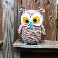 Large Crochet Plush Owl in pastel rainbow, MADE TO ORDER.