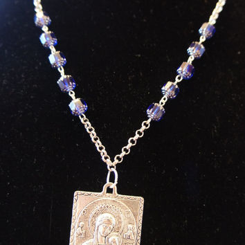 Our Lady of Perpetual Help Necklace Cathedral Blue Rosary Style for him or her