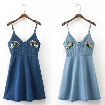 Fashion Sexy straps embroidery flower cowboy tall dress