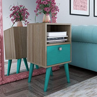 MHC-1AMC126  Abisko Stylish Side Table with 1- Cubby and 1-Drawer