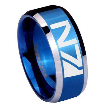 8mm N7 Design Beveled Edges Blue 2 Tone Tungsten Mens Ring Engraved
