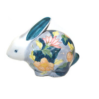 Vintage Ceramic Rabbit Figurine Floral Print Rabbit Spring Rabbit Statue Easter Bunny Nursery Decor