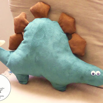 Stegosaurus: Handmade Plush Dinosaur (medium sized, suede cushion pillow)