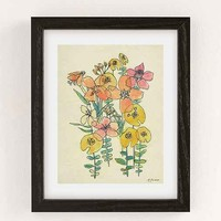 Luna Reef Contour Wildflowers Art Print