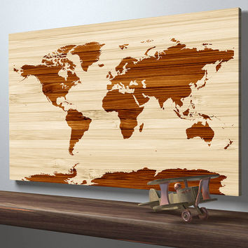 Map Art - Rustic World Map on Wood Texture Canvas Print - Wooden World Map Wall Art Canvas Print - Framed - Ready to Hang - Office Wall Art