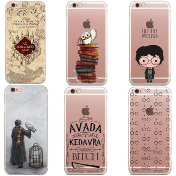 Funny Cartoon Owl Book Harry Potter Marauders Map Soft Silicone TPU Phone Case Cover For iPhone X 10 5 5S SE 6 6SPlus 7 8 Plus