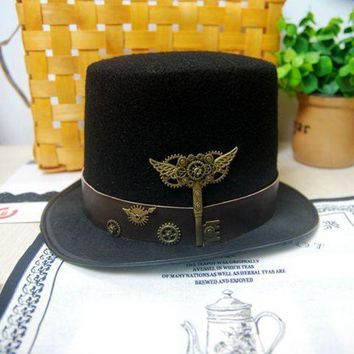 DCCKH6B New Costume Steampunk Top Hat with Belt & Gears Key Accessories Handmade Trilby Hats Gothic